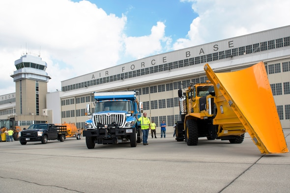 The 88th Civil Engineering Group heavy equipment and grounds crew park along the flightline after the annual Snow Parade at Wright-Patterson Air Force Base, Ohio, October 3.