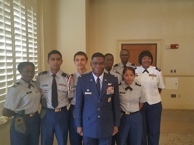 Col. Terrence Adams, Joint Base Charleston commander, meets with students from the Military Magnet Academy Sept. 5, 2018, at Joint Base Charleston, S.C.