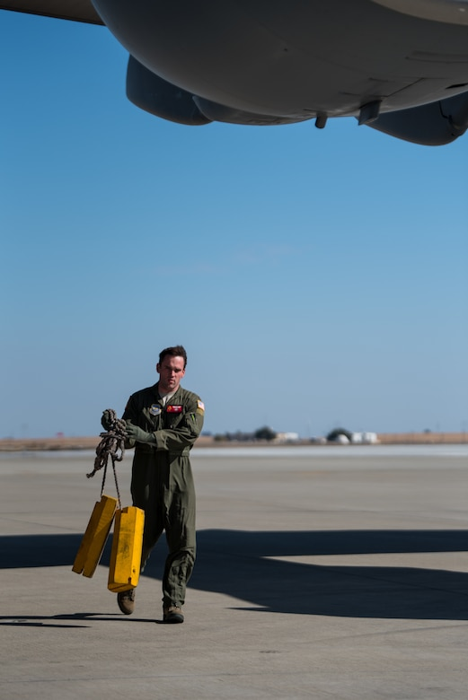 The aircraft and crew departed to pick up search and rescue equipment as well as supplies to support civil authorities in Hurricane Michael relief efforts. The cargo will be delivered from Davis-Monthan AFB, Arizona to Meridian Regional Airport, Mississippi.