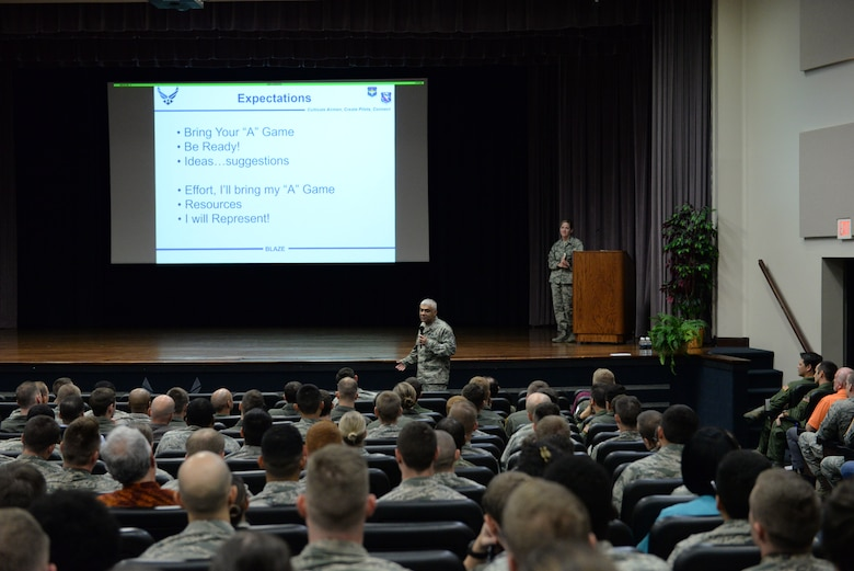 Chief Master Sgt. Raul Villarreal Jr., 14th Flying Training Wing command chief, describes how Team BLAZE is going to accomplish the wing mission during the wing's all call, Oct. 5, 2018, at the Kaye Auditorium on Columbus Air Force Base, Mississippi. During the all call, Villarreal talked about his expectations for all 14 FTW Airmen. (U.S. Air Force photo by Airman Hannah Bean)