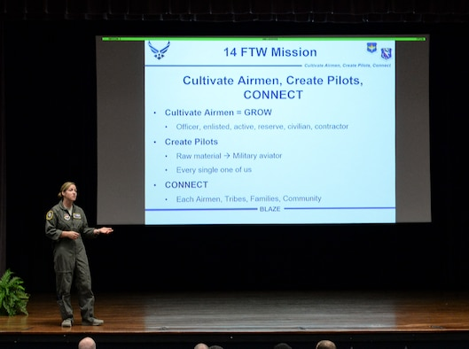 Col. Samantha Weeks, 14th Flying Training Wing commander, talks with the audience during the wing's all call, Oct. 5, 2018, at the Kaye Auditorium on Columbus Air Force Base, Mississippi. Weeks discussed what's important to her and what she believed everyone can use and improve on. (U.S. Air Force photo by Airman Hannah Bean)