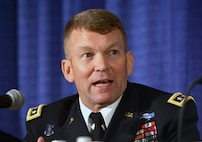 Lt. Gen. Jeffrey Buchanan, U.S. Army North commander, discusses the Army's role in emergency disaster response at the 2018 Association of the U.S. Army's annual meeting, Oct. 9, 2018 in Washington, D.C.