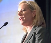 Department of Homeland Security Secretary Kirstjen Nielsen addresses the audience prior to a panel discussion with Army leaders on the importance of unity of effort in disaster response, Oct. 9, 2018 at the Association of the U.S. Army's annual meeting.