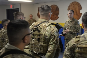 Col. Aaron Guill, 341st Security Forces Group commander, briefs defenders during guardmount Oct. 5, 2018, at Malmstrom Air Force Base, Mont.