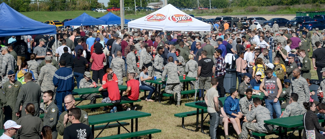 Sept. 27 was a beautiful day for the mostly outdoor activities during the 552nd Air Control Wing's Freedom Fest event. The whole Wing was welcome to participate in a number of events and tournaments and were treated to a feast for lunch. (U.S. Air Force photo/Kelly White)