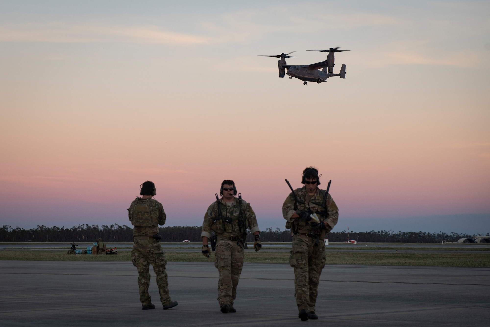 U.S. Air Force Special Tactics Airmen with the 23rd Special Tactics Squadron access Tyndall Air Force Base's airfield, Florida, Oct. 11, 2018.