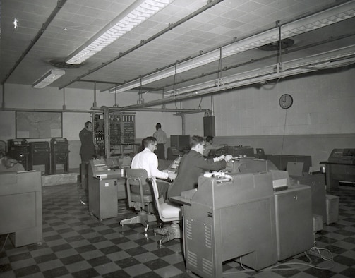 Pre AUTODIN view of a data communications manual relay facility, late 1950s early 1960s. (Courtesy of the AFNIC History Office)