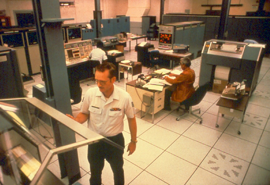 Interior view of an AUTODIN automatic switching center. (Courtesy of the AFNIC History Office)