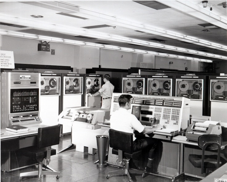 Interior view of the McClellan AFB AUTODIN Switching Center. (Courtesy of the AFNIC History Office)