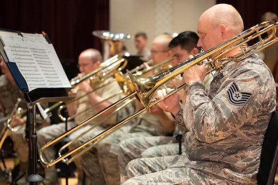 The trombone section during rehearsal for the 2018 Fall Tour