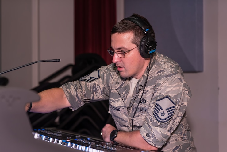 Audio Engineer Master Sgt. Loren Zimmer monitors audio levels during a recent rehearsal for the 2018 Fall tour