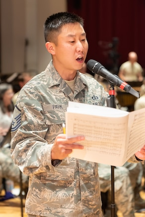 Master Sgt. Ben Park rehearses with the Concert Band in preparation for the 2018 Fall tour