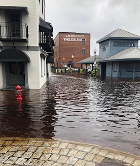Just weeks after Hurricane Florence flooded many parts of Wilmington, water from the Cape Fear River  flowed back onto the city's streets at high tide on Oct. 11. Wilmington District water managers continue to monitor river flows in the Neusse and Cape Fear River basins after Hurricane Michael caused flooding in the Piedmont and other areas of North Carolina.