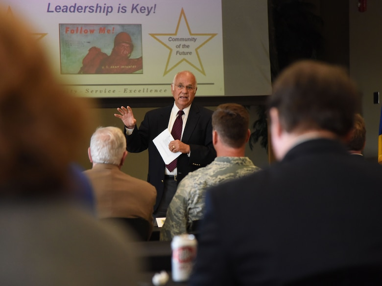 U.S. Army retired Col. Fred Meurer delivers a briefing to Keesler and community leaders during the Keesler/Mississippi Gulf Coast Community Partnership Workshop at the Salvation Army Kroc Center in Biloxi, Mississippi, Oct. 10, 2018. The program is part of a larger Air Force Public-Public, Public-Private initiative to encourage installations and local communities to combine or improve resources or operating processes. Mississippi representatives from state and local communities and various civic leaders attended the event. (U.S. Air Force photo by Kemberly Groue)