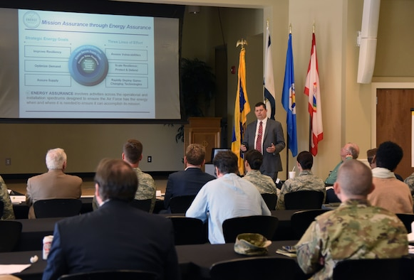 David Irwin, Office of Energy Assurance opportunity development director, delivers a briefing to Keesler and community leaders during the Keesler/Mississippi Gulf Coast Community Partnership Workshop at the Salvation Army Kroc Center in Biloxi, Mississippi, Oct. 10, 2018. The program is part of a larger Air Force Public-Public, Public-Private initiative to encourage installations and local communities to combine or improve resources or operating processes. Mississippi representatives from state and local communities and various civic leaders attended the event. (U.S. Air Force photo by Kemberly Groue)
