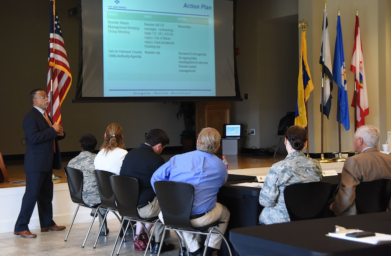 Dr. Wayne Clark, 81st Mission Support Group deputy director, delivers remarks to Keesler and community leaders during the Keesler/Mississippi Gulf Coast Community Partnership Workshop at the Salvation Army Kroc Center in Biloxi, Mississippi, Oct. 10, 2018. The program is part of a larger Air Force Public-Public, Public-Private initiative to encourage installations and local communities to combine or improve resources or operating processes. Mississippi representatives from state and local communities and various civic leaders attended the event. (U.S. Air Force photo by Kemberly Groue)