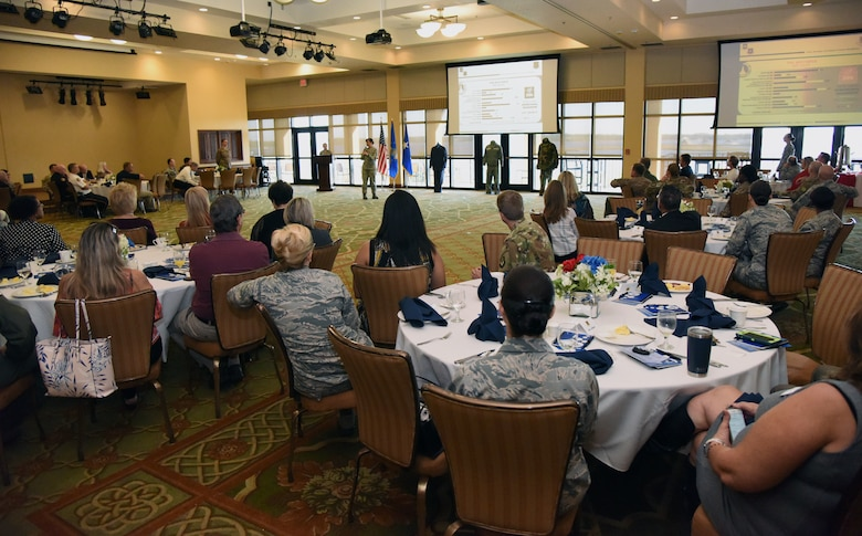 U.S. Air Force Col. Debra Lovette, 81st Training Wing commander, delivers remarks during the Biloxi Chamber Morning Call in the Bay Breeze Event Center at Keesler Air Force Base, Mississippi, Oct. 11, 2018. Local business and community leaders attended the event, hosted by the 81st TRW, to learn more about the base's mission and its Airmen. (U.S. Air Force photo by Kemberly Groue)
