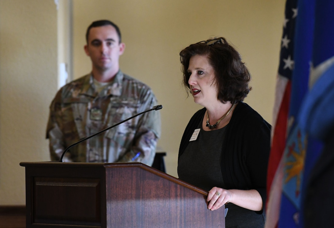 Rachel Seymour, Biloxi Chamber of Commerce director, delivers comments during the Biloxi Chamber Morning Call in the Bay Breeze Event Center at Keesler Air Force Base, Mississippi, Oct. 11, 2018. Local business and community leaders attended the event, hosted by the 81st Training Wing, to learn more about the base's mission and its Airmen. (U.S. Air Force photo by Kemberly Groue)