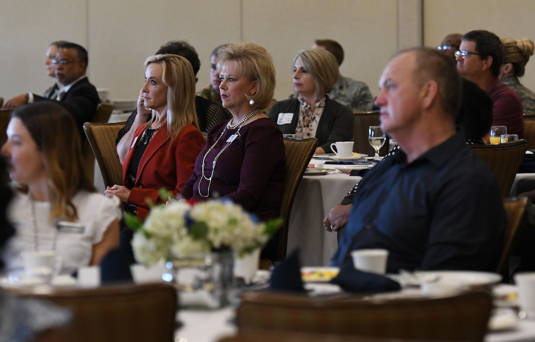 Local business and community leaders attend the Biloxi Chamber Morning Call in the Bay Breeze Event Center at Keesler Air Force Base, Mississippi, Oct. 11, 2018. The event, hosted by the 81st Training Wing, was held so that attendees can learn more about the base's mission and its Airmen. (U.S. Air Force photo by Kemberly Groue)