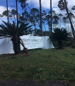 The entrance of the U.S. Army Corps of Engineers Jim Woodruff Lock & Dam project after Hurricane Michael ravaged the area on Oct. 11, 2018, in Lake Seminole, Fla. The project survived the Category 4 storm and is currently providing spillway control.