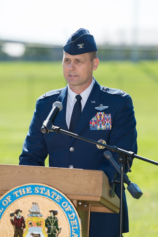 Col. Joel Safranek, Commander of the 436th Airlift Wing speaks at the Senior Airman Elizabeth Loncki bridge dedication ceremony Oct. 12, 2018, at Dover Air Force Base, Del.