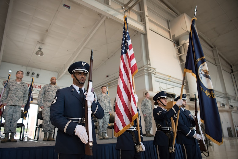 The 123rd Airlift Wing Honor Guard presents the colors during a ceremony at the Kentucky Air National Guard Base in Louisville, Ky., Sept. 16, 2018, celebrating the wing's accomplishments in the last year. The ceremony concluded with the presentation of the wing's 17th Outstanding Unit Award, eighth Distinguished Flying Unit Plaque and the 2017 Contingency Response Unit of the Year Award. (U.S. Air National Guard photo by Staff Sgt. Joshua Horton)