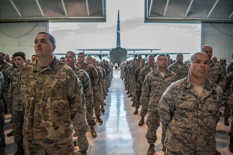 Airmen from the 123rd Airlift Wing attend a ceremony at the Kentucky Air National Guard Base in Louisville, Ky., Sept. 16, 2018, celebrating the wing's accomplishments in the last year. The ceremony concluded with the presentation of the wing's 17th Outstanding Unit Award, eighth Distinguished Flying Unit Plaque and the 2017 Contingency Response Unit of the Year Award. (U.S. Air National Guard photo by Staff Sgt. Joshua Horton)
