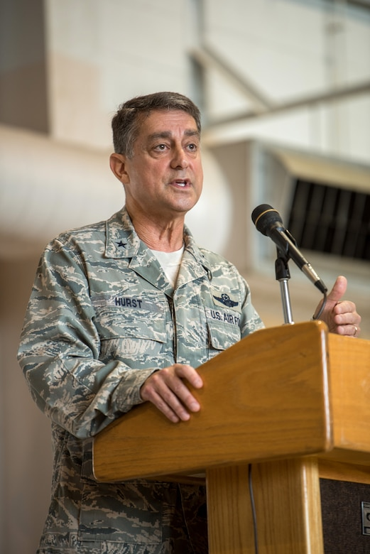 Brig. Gen. Warren Hurst, Kentucky's assistant adjutant general for Air, speaks to members of the 123rd Airlift Wing during a ceremony at the Kentucky Air National Guard Base in Louisville, Ky., Sept. 16, 2018. The ceremony, which highlighted the unit's accomplishments during the last year, concluded with the presentation of the wing's 17th Outstanding Unit Award, eighth Distinguished Flying Unit Plaque and the 2017 Contingency Response Unit of the Year Award. (U.S. Air National Guard photo by Staff Sgt. Joshua Horton)