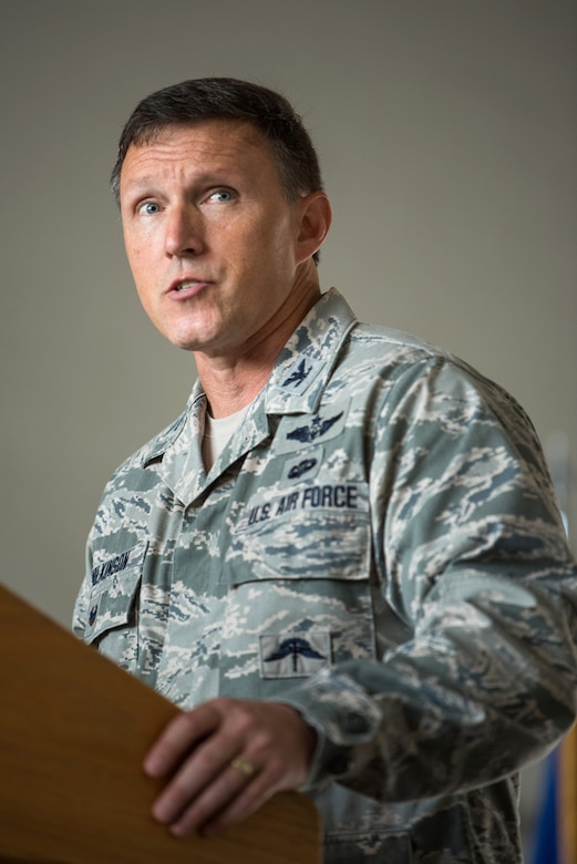 Col. Jeffrey Wilkinson, commander of the 123rd Airlift Wing, speaks to unit members during a ceremony at the Kentucky Air National Guard Base in Louisville, Ky., Sept. 16, 2018. The ceremony, which highlighted the unit's accomplishments during the last year, concluded with the presentation of the wing's 17th Outstanding Unit Award, eighth Distinguished Flying Unit Plaque and the 2017 Contingency Response Unit of the Year Award. (U.S. Air National Guard photo by Staff Sgt. Joshua Horton)