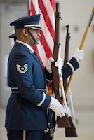The 123rd Airlift Wing Honor Guard presents the colors during a commander's call at the Kentucky Air National Guard Base in Louisville, Ky., Sept. 16, 2018. The ceremony marked the wing's selection for its 17th Air Force Outstanding Unit Award, continuing the unit's legacy as one of the most decorated organizations in U.S. Air Force History. (U.S. Air National Guard photo by Lt. Col. Dale Greer)