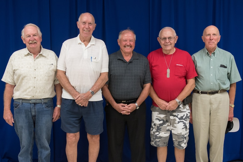Five former members of the Kentucky Air National Guard attend a ceremony at the Kentucky Air National Guard Base in Louisville, Ky., Sept. 16, 2018,  marking the 50th anniversary of the unit's call-up for the Pueblo Crisis in 1968. The Airmen, all of whom were federally mobilized for the crisis, are (left to right) former Staff Sgt. Ches Wheeler, retired Master Sgt. Bob Denton, retired Col. Thomas Marks, retired Col. Ed Hornung and retired Master Sgt. Philip Bizzell. (U.S. Air National Guard photo by Master Sgt. Vicky Spesard)