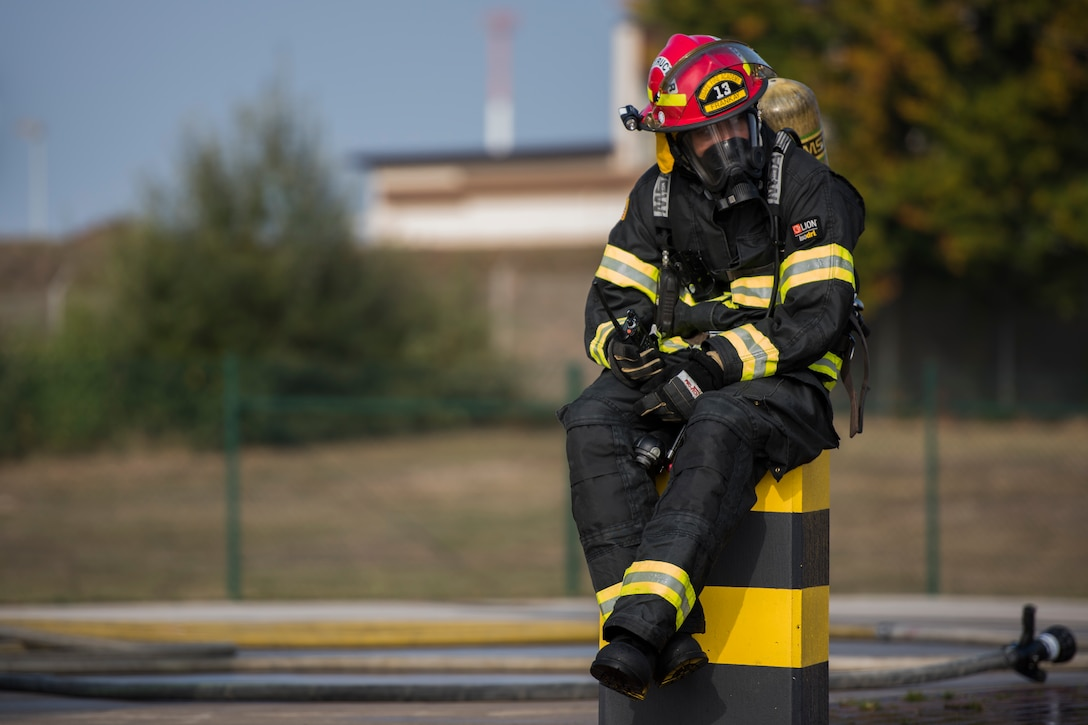 U.S. Air Forces in Europe Fire Academy members assigned to the 435th Construction and Training Squadron hosted a burn training simulation during a USAFE NATO Firefighter partnership course with Latvian and Lithuanian air force firefighters Oct. 10, 2018.