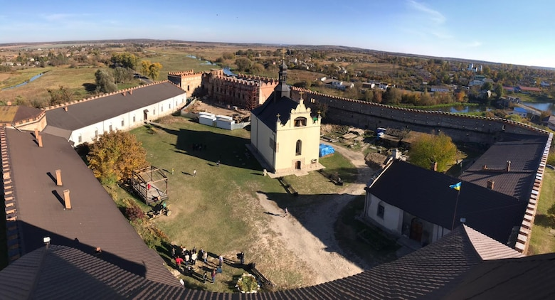 U.S. and Ukrainian airmen taking part in Clear Sky 2018 visited the Medzhybiz Fortress in Ukraine, Oct. 14, 2018, as part of the exercise's cultural day activities. The fortress started as a wooden castle in the year 1146 and served as a bulwark against the Ottoman expansion in the 1540s. Major restoration has been carried out on the fortress since 1968, and now a church and museum are included within its walls. (U.S. Air Force photo by Maj. Chris Lowe)