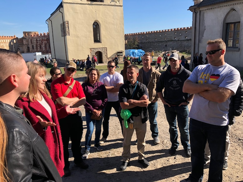 U.S. and Ukrainian airmen taking part in Clear Sky 2018 visited the Medzhybiz Fortress in Ukraine, Oct. 14, 2018, as part of the exercise's cultural day activities. The visit was an opportunity for the exercise hosts to share some local culture and history with their guests. (U.S. Air Force photo by Maj. Tristan Hinderliter)