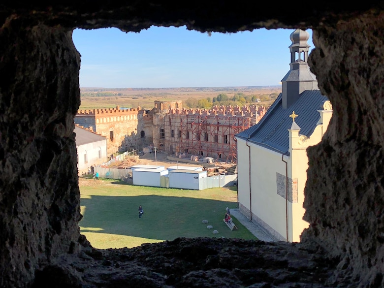 The Medzhybiz Fortress in Ukraine started as a wooden castle in the year 1146 and served as a bulwark against the Ottoman expansion in the 1540s. U.S. and Ukrainian airmen visited the fortress as part of cultural day activities during Clear Sky 2018. (U.S. Air Force photo by Maj. Tristan Hinderliter)