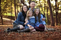Joseph Meyer, 375th Air Mobility Wing vice commander, is pictured with his wife, Brandy, and two daughters, Eleanor and Evelyn. Over the span of his 21-year-career, Meyer has held four positions at Scott Air Force Base, including his current position as vice commander.