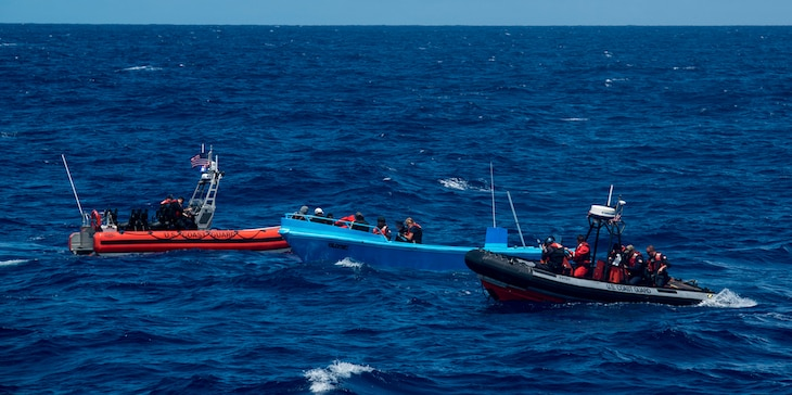 The crew of the Coast Guard Cutter Active interdicts more than 1 ton of cocaine from four suspected drug smugglers during a patrol in the Eastern Pacific.