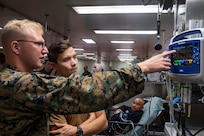 Sailors conduct mass casualty training aboard the hospital ship USNS Comfort.