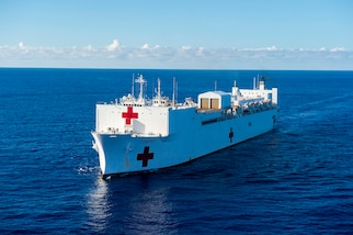 The hospital ship USNS Comfort transits south on an 11-week medical support mission to Central and South America.