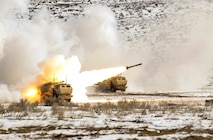Soldier from 5-3 Field Artillery Regiment, 17th Field Artillery Brigade conduct live fire range with the High-Mobility Artillery Rocket Systems at Yakima Training Center, Feb. 28, 2017. 5-3 FAR is firing their finale qualifications before deploying in support of Operation Inherent Resolve. (U.S. Army Photo by Sgt. Jacob Kohrs)