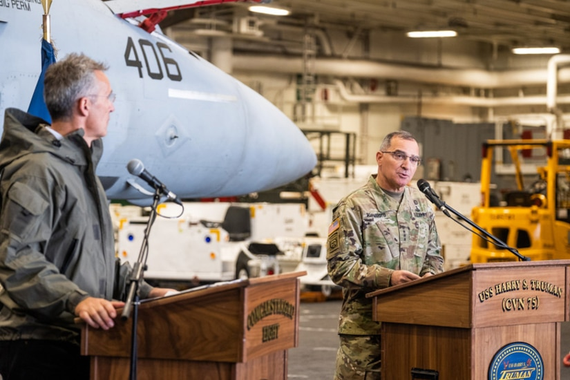 NATO Secretary General Jens Stoltenberg, left, with Army Gen. General Curtis M. Scaparrotti, Supreme Allied Commander Europe and commander of U.S. European Command, attend a joint press conference aboard the aircraft carrier USS Harry S. Truman in the North Sea, Oct. 12, 2018. NATO photo