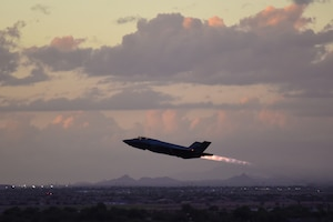 An F-35A Lightning II takes off for a nighttime sortie Oct. 11, 2018, over Luke Air Force Base, Ariz. Pilots train to fly during the night using night-vision optics and flight instruments. (U.S. Air Force photo by Senior Airman Ridge Shan)