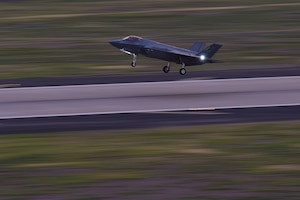 An F-35A Lightning II takes off Oct. 11, 2018 at Luke Air Force Base, Ariz. Pilot training courses at Luke include flying under a variety of different conditions, including at night, in order to produce combat-ready Airmen. (U.S. Air Force photo by Senior Airman Ridge Shan)