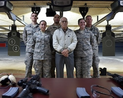 Five 910th Airlift Wing Reserve Citizen Airmen that were chosen to fire the ceremonial first shots at the new firing range.