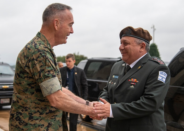 Chairman of the Joint Chiefs of Staff Gen. Joe Dunford greets his Israeli counterpart, Chief of the Israeli General Staff Lt. Gen. Gadi Eisenkot, ahead of a meeting in the Pentagon, Oct. 15, 2018.