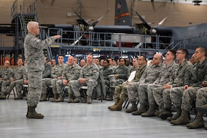 U.S. Air Force Lt. Gen. L. Scott Rice, the director of the Air National Guard, speaks with Airmen during a visit to the 182nd Airlift Wing in Peoria, Ill., Oct. 14, 2018.