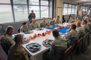 U.S. Air Force Lt. Gen. L. Scott Rice, the director of the Air National Guard, visits with Airmen at lunch during a visit to the 182nd Airlift Wing in Peoria, Ill., Oct. 14, 2018.