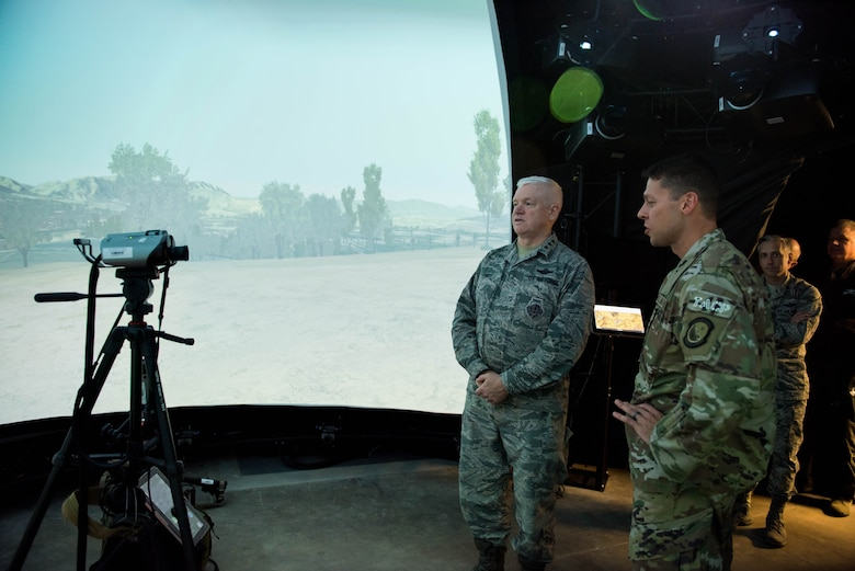 U.S. Air Force Lt. Gen. L. Scott Rice, Director of the Air National Guard, take a tour of the training simulator used by TACPs in the 169th ASOS, Peoria, Ill., October 14, 2018
