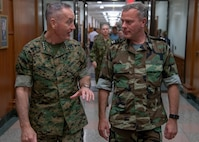 Chairman of the Joint Chiefs of Staff Gen. Joe Dunford meets with Netherlands Chief of Defense Adm. Rob Bauer in Washington D.C. Oct. 15, 2018.