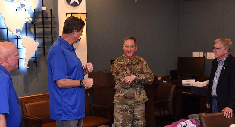 Air Force Chief of Staff Gen. David L. Goldfein visits with civic leaders and honorary commanders while touring the 301st Fighter Wing Oct. 13, 2018, at Naval Air Station Fort Worth Joint Reserve Base, Texas. Honorary commanders and other civic leaders help to build community partnerships and civic engagements between the American public and military units. (U.S. Air Force photo by Tech.